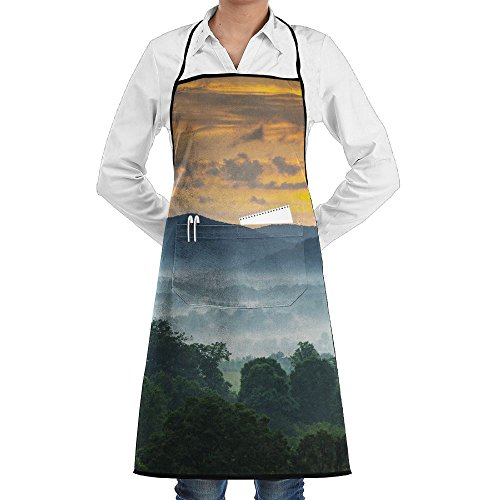 Novelty Sunset Over The Blue Ridge Mountains In Asheville, North Carolina Kitchen Chef Apron With Big Pockets - Chef Apron For Cooking,Baking,Crafting,Gardening And BBQ (Best Barbecue In Asheville)