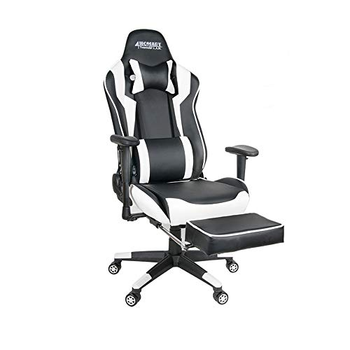 4HOMART Gaming Chair,High Back Ergonomic Style Racing Chair Leather 180 Degree Reclining Computer Chair 360 Degree Swivel Adjustable Office Chair Footrest White Black, Headrest Lumbar Support