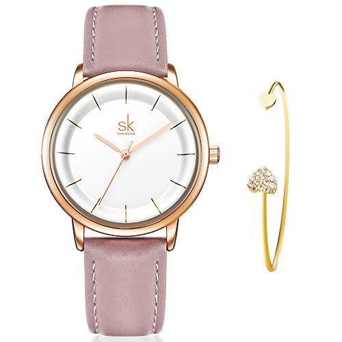 SHENGKE Women's Watch Gift Set Quartz Leather Strap Fashion Ladies Watch Ultra Thin Watches for Women with Bracelet Gift reloj de Mujer