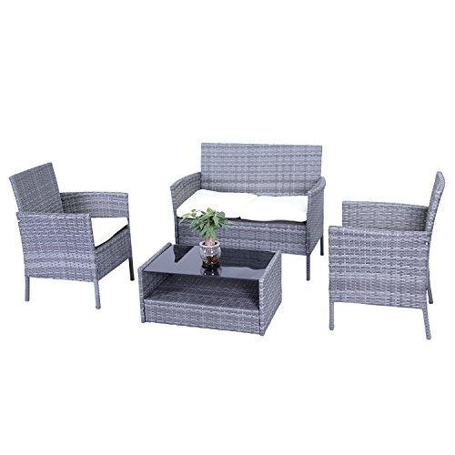 ALEKO RTBG09GRY Indoor Outdoor Hamptons Rattan 4 Piece Patio Furniture and Coffee Table Set, Grey Color with Cream Cushions (Grey Rattan Patio Furniture)