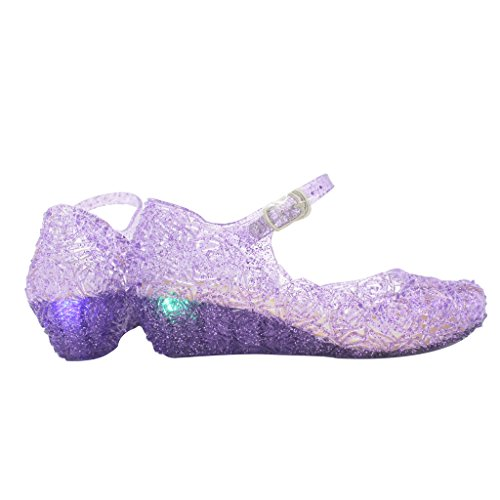 Jelly Sandal for Girls with LED Light Heel Princess Girls' Sparkle Dress Up Cosplay Heel Jelly Shoes Size - Dress Little Purple Girl Shoes