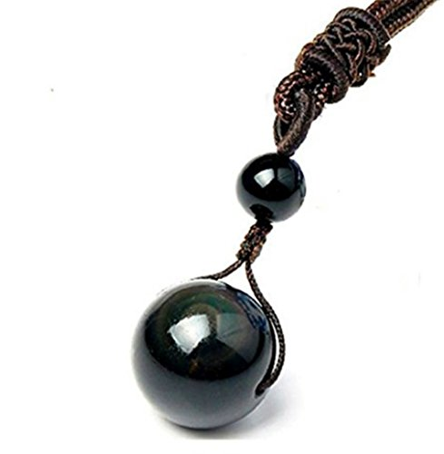 - Tmrow Natural Stone Pendant Necklace For Women And Men Obsidian Black Eye Rainbow Beads Lucky Ball Transfer Love Necklaces & Pendants