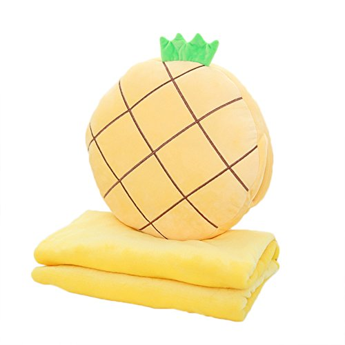 (Rainie Love 3 in 1 Cute Strawberry/Kiwifruit/Pineapple/Orange/Watermelon Shape Design Plush Stuffed Fruits Throw Pillow Cushion Travel Blanket Hand Warmer Set(Brown/Red/Yellow/Green))