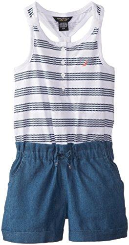 Nautica Little Girls' Jersey Romper, Eto Sail White, 4T