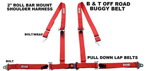 RACERDIRECT RED 4 Point SEAT Belt Harness Pull Down Lap Belt ROLL BAR Mount