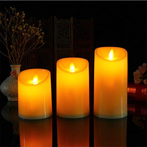 SULYMY | Candles | Set of 3 Amber Flameless Led Pillar Candles, 34/5/6 Moving Wick Dancing Flame Battery Operated Candles,Halloween Candles