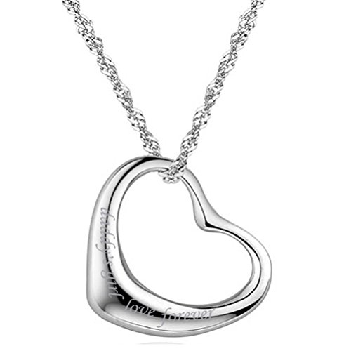 Sterling Silver Open Heart Necklace Pendant Quote