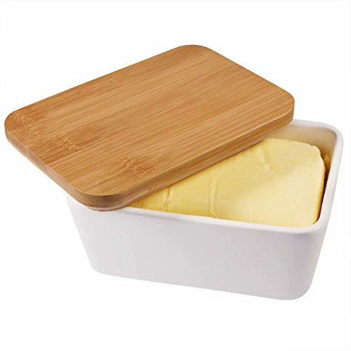 77L Butter Dish - Ceramic Butter Dishes Perfect for 2 Sticks of Butter, Multi - purpose Butter Container with Wooden Lid for Kitchen, Large Butter Holder (White) by 77L