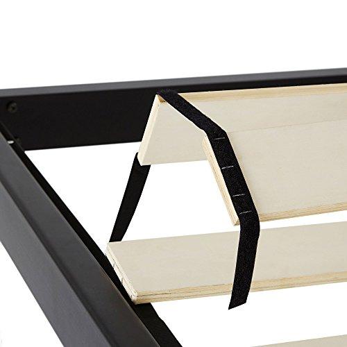 intelliBASE King Size Wooden Slat Black Metal Platform Bed Frame with Headboard