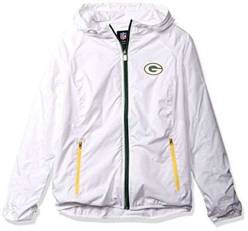 NFL Green Bay Packers Women's Spring Training Light Weight Full Zip Jacket, Medium, White