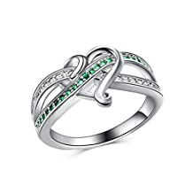Mrsrui Forever Love Knot Heart Promise Ring White Gold Plated