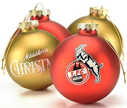 Christbaumkugeln Amazon.1 Fc Koln Christbaumkugeln Weihnachtskugeln Gold Rot 4080357