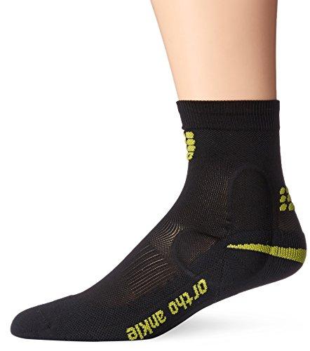 CEP Ortho+ Ankle Support Short Socks, Black/Green, Women, Size 2