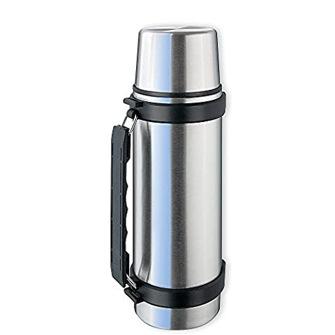 Isosteel Va-9552q 25 Fl. Oz. Stainless Steel Double-walled Vacuum Bottle with Drinking Cup, Quickstop System, Single Hand Pouring