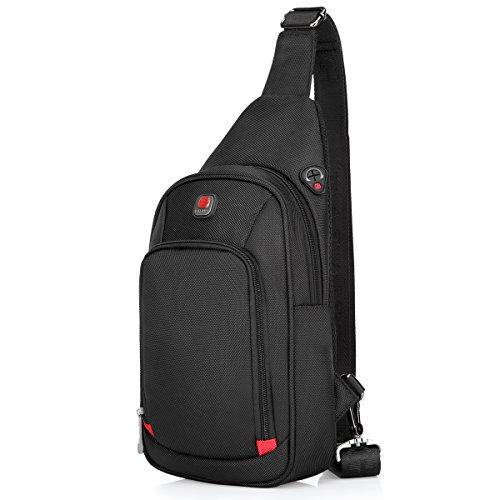 Sling Bag Crossbody Bag Chest Pack for Men Women Zipper Water Resistant Nylon (Black large)