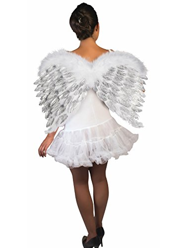 Forum Novelties 74699 Party Supplies Women's Deluxe Feather Angel Wings with Glitter, White,