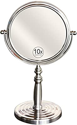DecoBros 6-Inch Tabletop Two-Sided Swivel Vanity Mirror with 10x Magnification, 11.61 Inch Height, Nickel