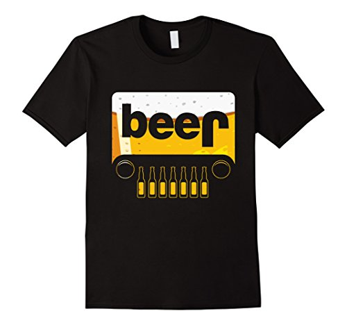 Men's Funny Jeep Beer T-Shirt Party Bottlecap Adult Drink 2XL (Beer Jeep Tshirt)