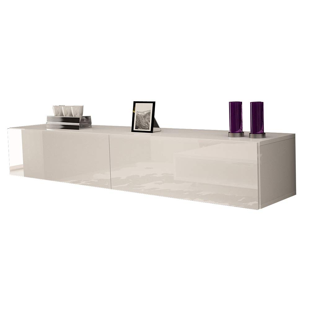 MEBLE FURNITURE & RUGS Berno Modern High Gloss Wall Mounted Floating 71'' TV Stand (White) by MEBLE FURNITURE & RUGS