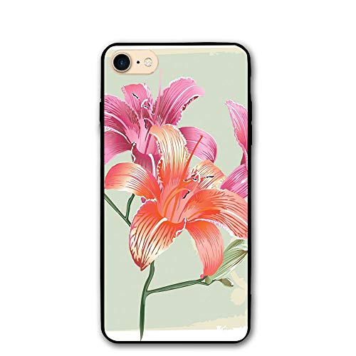 (Haixia IPhone 7/8 Case 4.7 Inch Vintage Floral Lily Flowers On Grunge Backdrop Gardening Plants Growth Botany Decorative Pale Green Salmon Pink)