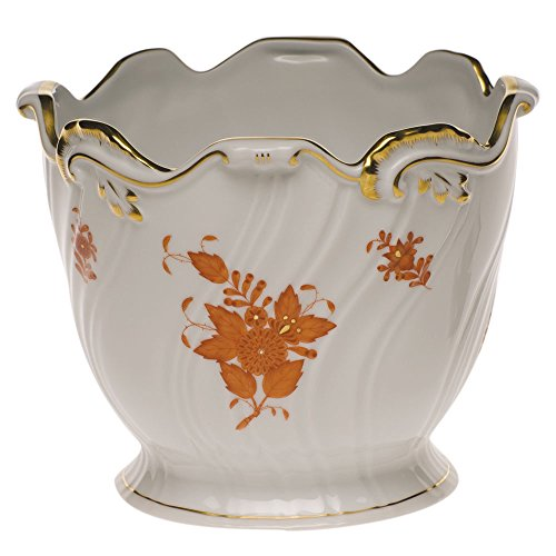 Herend Chinese Bouquet Rust Cachepot Ribbed