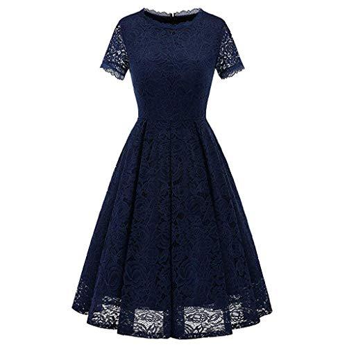 (Seaintheson Womens Dress, Ladies Plus Size Cocktail Dress Short Sleeve Lace Midi Dress Elegant Evening Party Mini Skirt)