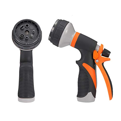 AXYOFSP Garden Hose Nozzle Spray Nozzle,10 Watering Patterns Metal Heave Duty Water Nozzle,High Pressure Nozzle Sprayer for Watering Plants, Cleaning, Car Wash and Showering Dog & Pets (Orange)
