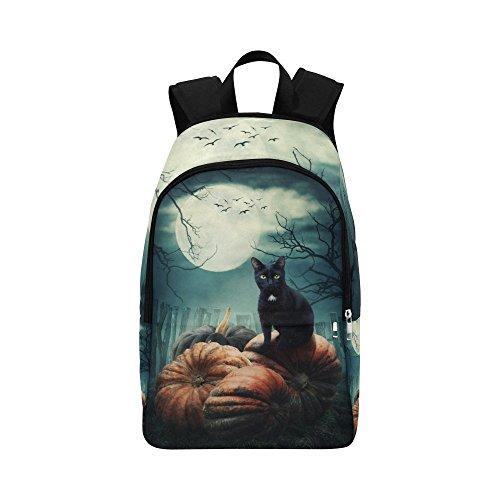Happy More Custom Black Cat On A Pumpkin Travel School Shoulder Bag Fabric Backpack ()