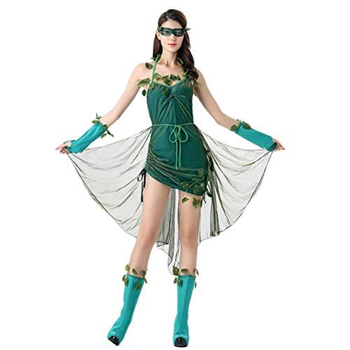 BESTOYARD 1PCS Halloween Stage Costume Beautiful Elf Costume Forest Demon Goddess Women's Cosplay Costume Uniforms Party Dress Suit ()