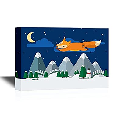 Canvas Wall Art - Cartoon Fox Flying Above The Mountains and Forest at Night - Gallery Wrap Modern Home Art | Ready to Hang - 12x18 inches