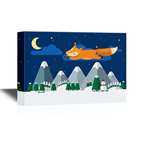 Cartoon Fox Flying Above The Mountains and Forest at Night