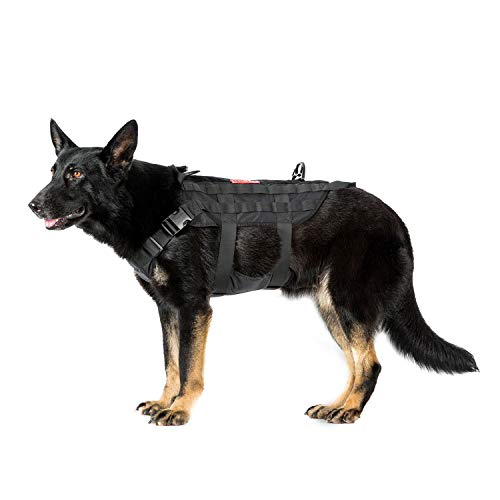 OneTigris POWER ROCKET Zero Sliding K9 Harness with MOLLE and Grab Handles Water-resistant Heavy Duty Tactical Dog Vest (Black, Large)