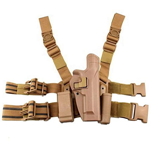quanlei Quick Tactical Right Hand Paddle Belt Leg Thigh Hard Drop Level 2 Holster for Beretta M9 M92 (Tan)