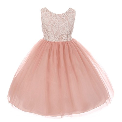 4a9be89529d Amazon.com: Kid's Dream Little Girls Dusty Rose Lace Tulle ...