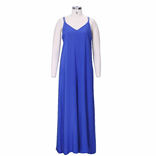 Women Sleeveless Wide Leg Jumpsuit Loose Sexy V Neck Long Playsuit Celeb Fashion Summer Casual Plus Size No package Blue 4XL