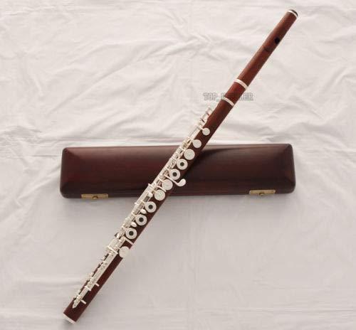 (Professional Grenadilla Rose Wooden C Flute Open Hole B foot Split E New Wood Case)