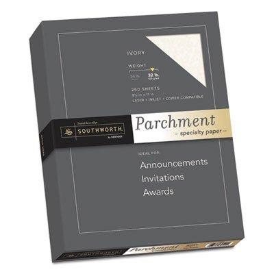 Southworth Premium Parchment Paper - Letter - 8.50quot; x 11quot; - 32 lb - Parchment - 250 / Box - Ivory by Southworth