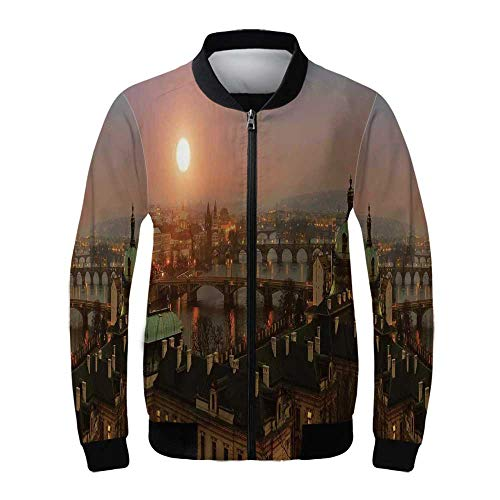 Cityscape Women's Windproof Jacket,Aerial Scenery on Prague Bridges at Sunset Gothic Medieval Buildings European Deco for Outdoor -