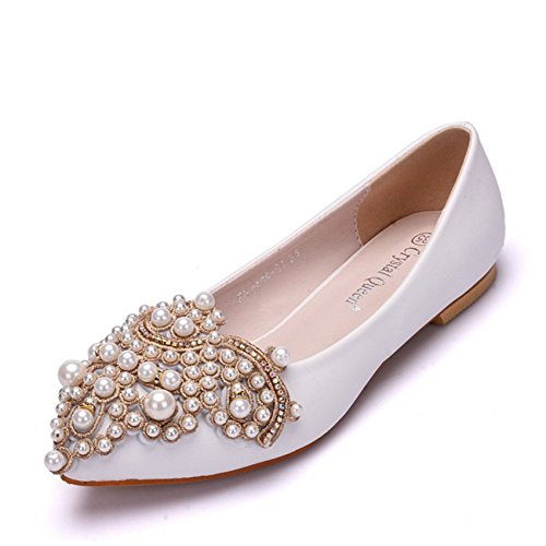 Perforación de agua punta Abalorios en zapatos planos, calzado casual único código grandes zapatos de mujer white