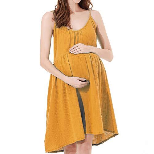 Avv Sleeveless Dress, Women's Summer Nursing Dress Flared Swing Maternity Breastfeeding Dress (Medium, Yellow)