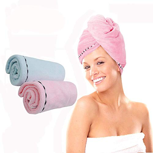 2 Pack Hair Drying Towel with Buttons for Women,Hair Towel Wrap,Quickly Magic Dryer,Dry Hair Hat,Wrapped Hair Cap,Bath Hair Cap(Pink and Blue) by Majestices