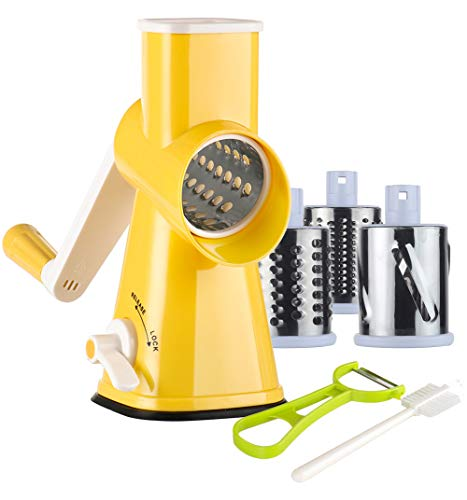 Ourokhome Rotary Cheese Grater Shredder - Speed Vegetable Slicer Nut Grinder with 3 Drum Blades
