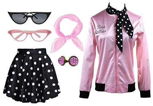 1950s Pink Ladies Satin Jacket T Bird Women Danny Halloween Costume Outfit (Black, Small) ()