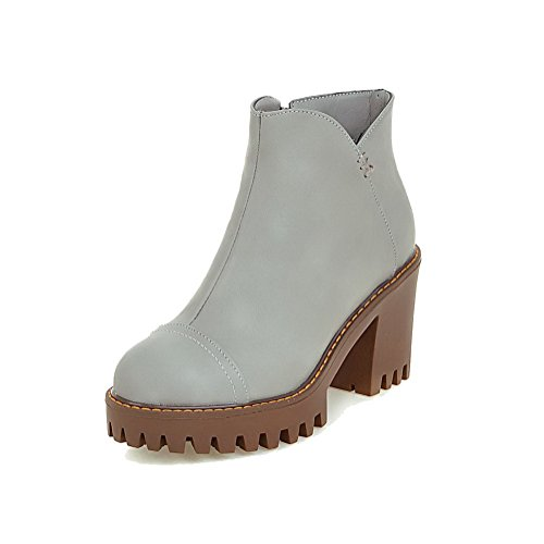 AmoonyFashion Womens Zipper Round Closed Toe High-Heels PU Low-top Boots Gray 4qUobHY
