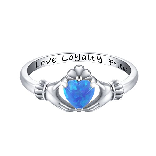 S925 Sterling Silver Love Loyalty Friendship Irish Ladies' Claddagh Ring (Opal, 6)