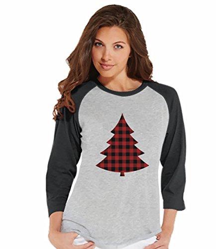 7 at 9 Apparel Womens Plaid Tree Christmas Raglan Tee