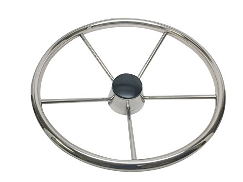 Pactrade Marine Destroyer Style SS304 Five Spoke Steering Wheel With Teak Cap by Pactrade Marine (Image #2)