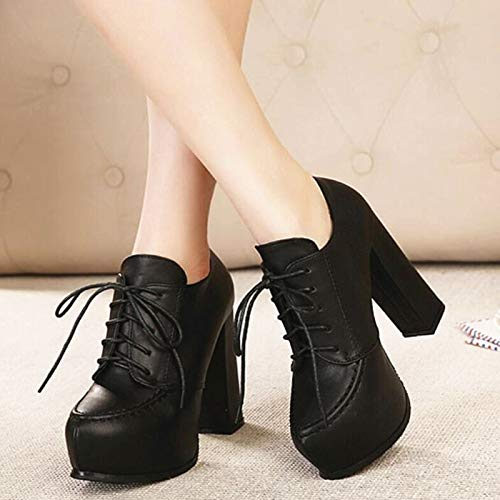 Heel Super Head Leather Thick Black Table LBTSQ High Single Shoes Lace Shoes High Deep Mouth 11Cm Shoe Fashion Round Heel Heel Waterproof 8Uwqndw4z