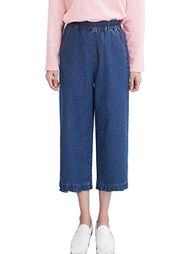 Tasche Laterali Casual Taglie Blu Pantaloni Eleganti Jeans Forti Elastico Donna marino Palazzo Pantaloni A1gqzqf