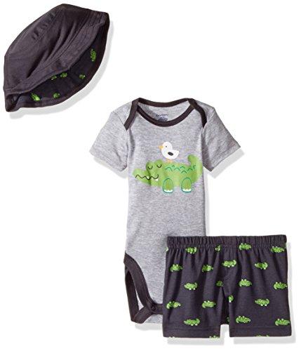 Gerber Baby Boys Bodysuit, Short and Bucket Hat, Alligator, 3-6 Months